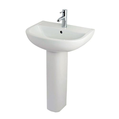 Rak Compact 550mm Basin & Full Pedestal - 2 Tap Hole